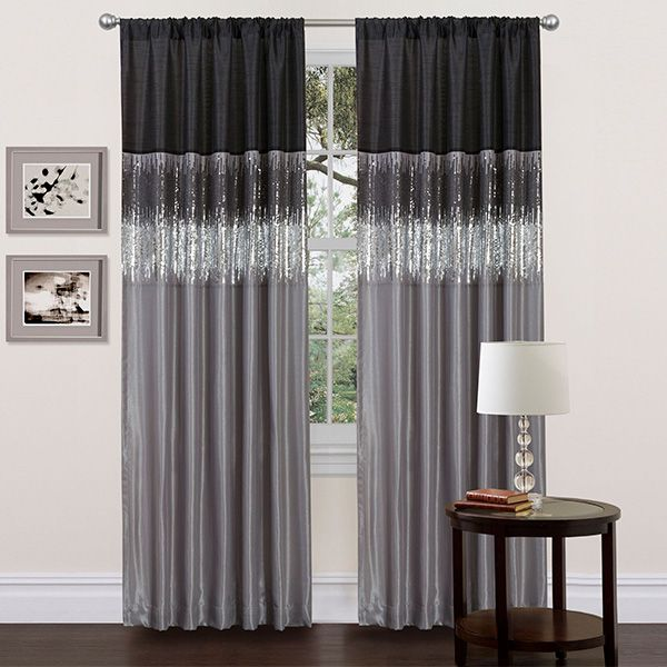 Lyra Black And Dark Gray Faux Silk Curtain Panel Hangs From