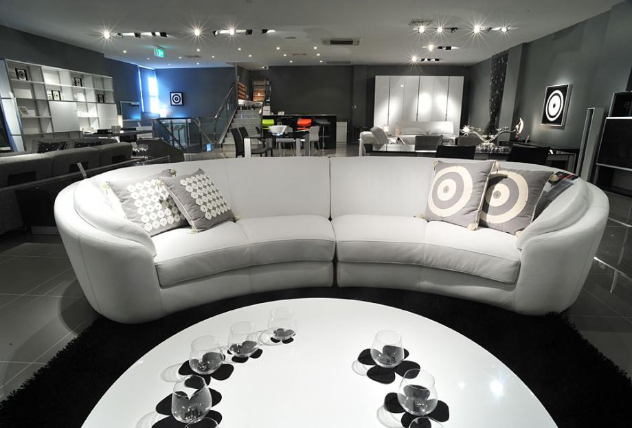 Fancy White Half Circle Sofa Set