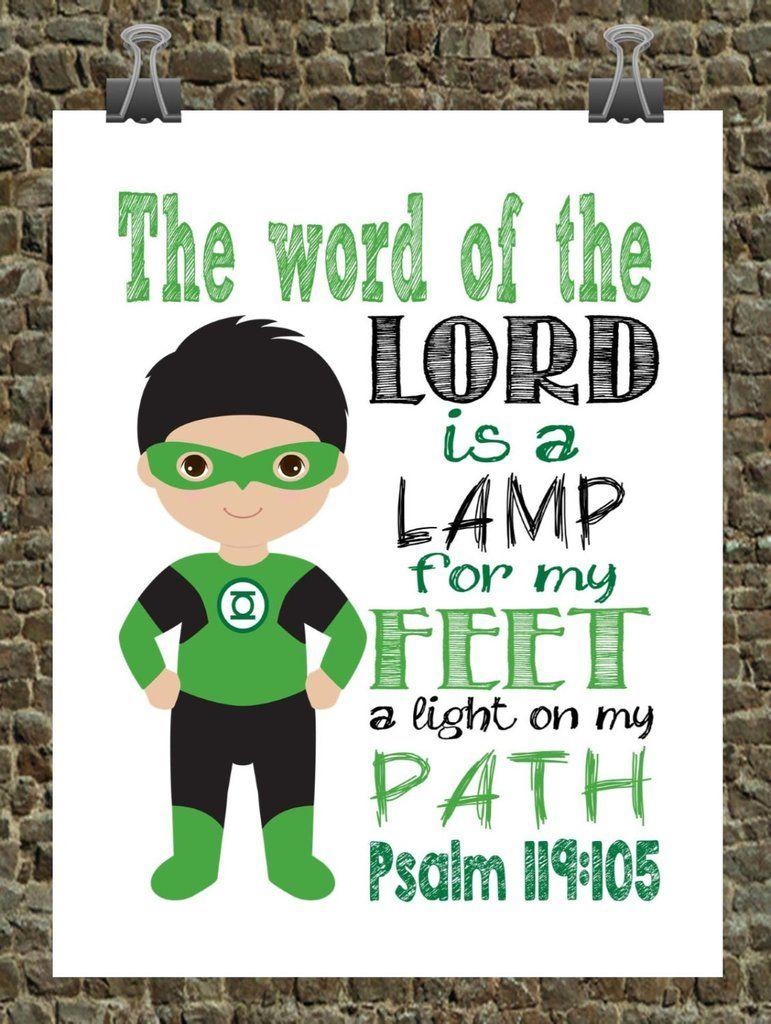 Green Lantern Christian Superhero Nursery Decor Wall Art - The word ...
