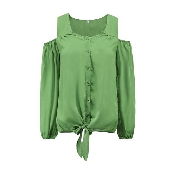 43bda6c4242ff Cold Shoulder Long Sleeve Green Blouse ( 19) ❤ liked on Polyvore featuring  tops