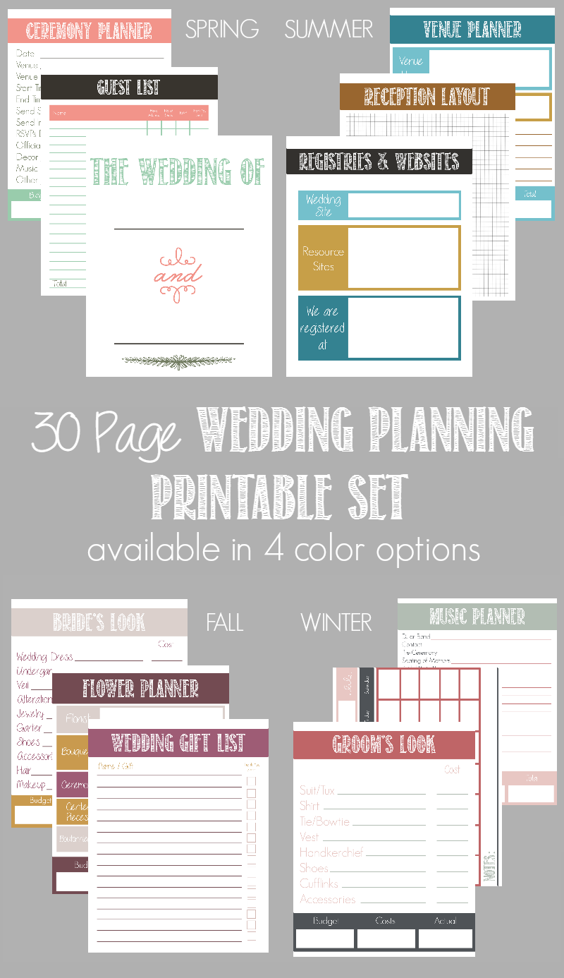 30 Page Wedding Planning Printable Set Available In 4 Color Options