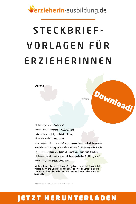 Gestalte Deinen Perfekten Kita Steckbrief Herbst In Nur Einer Minute In 2020 Steckbrief Steckbrief Erstellen Erzieherausbildung