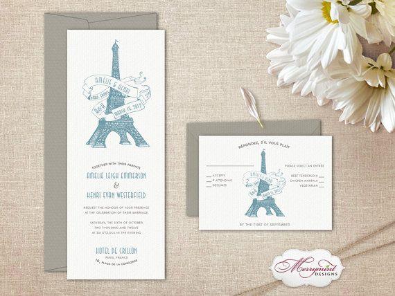 Eiffel Tower Paris Wedding Invitation