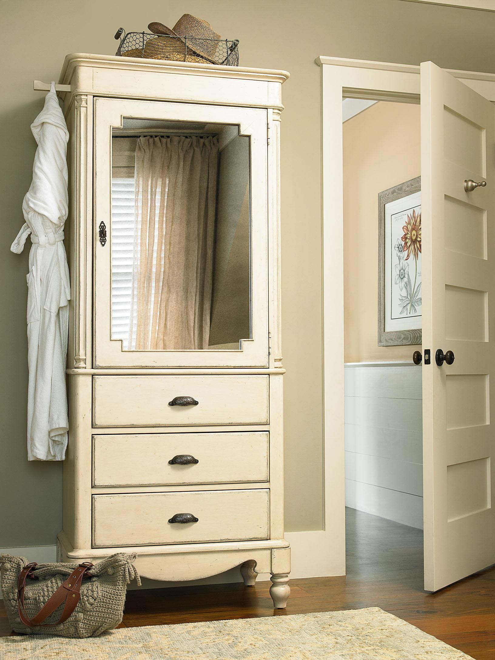 River House Dressing Armoire With Mirrored Door And Turned Feet By Paula  Deen By Universal |