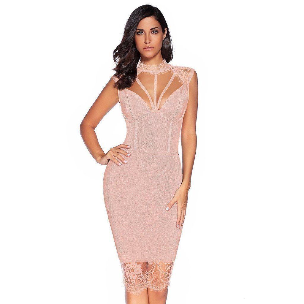 1317fa4c0ee Sarah Lace And Bandage Midi Dress