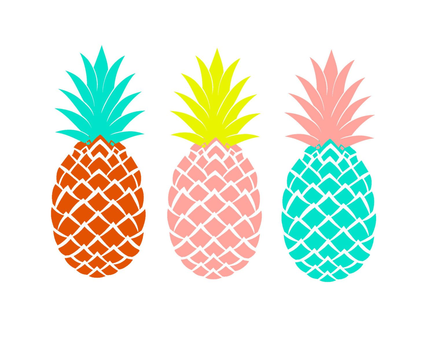 Pineapple print printable art three pineapples for Ananas dekoration