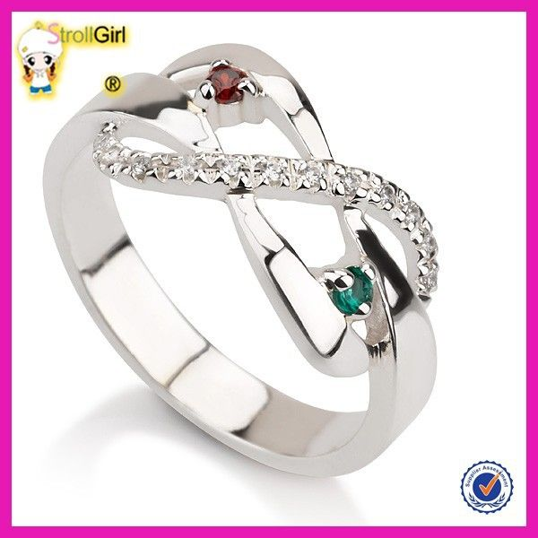 2015 new style 925 sterling silver engagement ring beautiful color gem ring design for girl