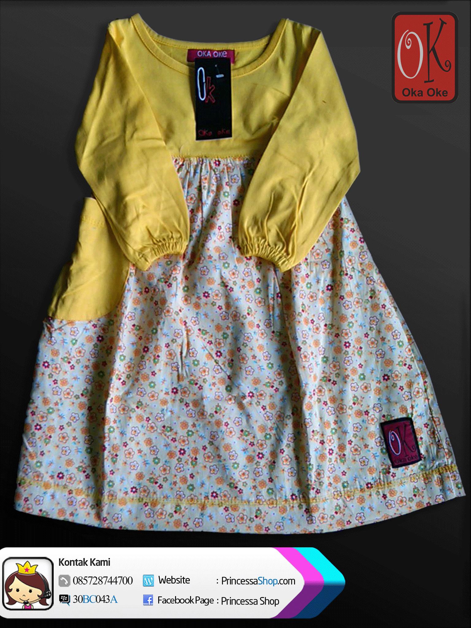 Gamis Anak Model Terbaru Produk Oka Oke Dengan Warna Kuning dan Bermotif Bunga Dress Anak