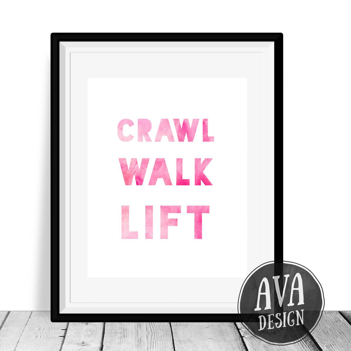 Girl nursery wall art crawl walk lift weightlifting poster