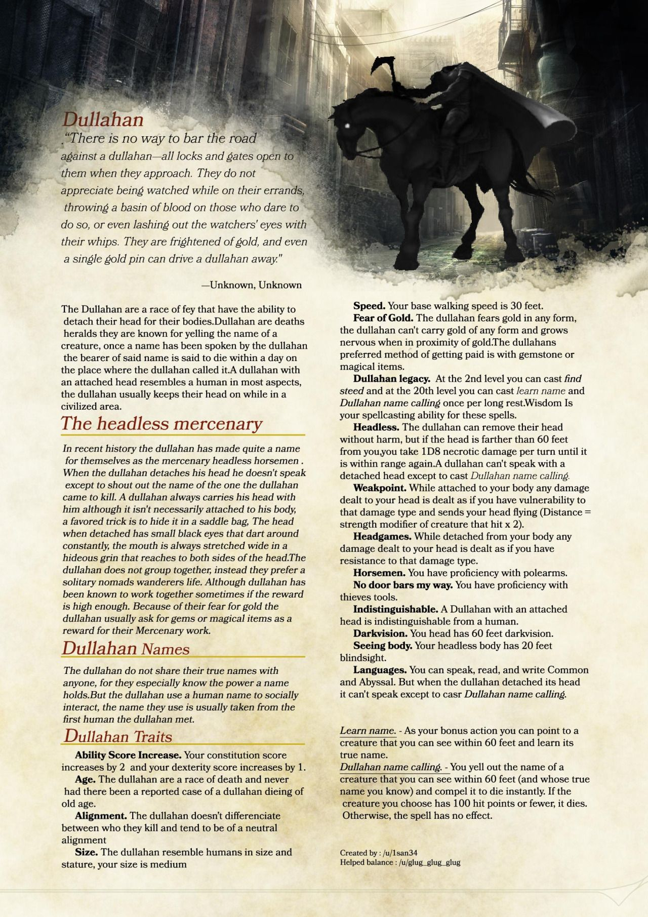 "dnd-5e-homebrew: ""Dullahan Race by 1san34 "" 