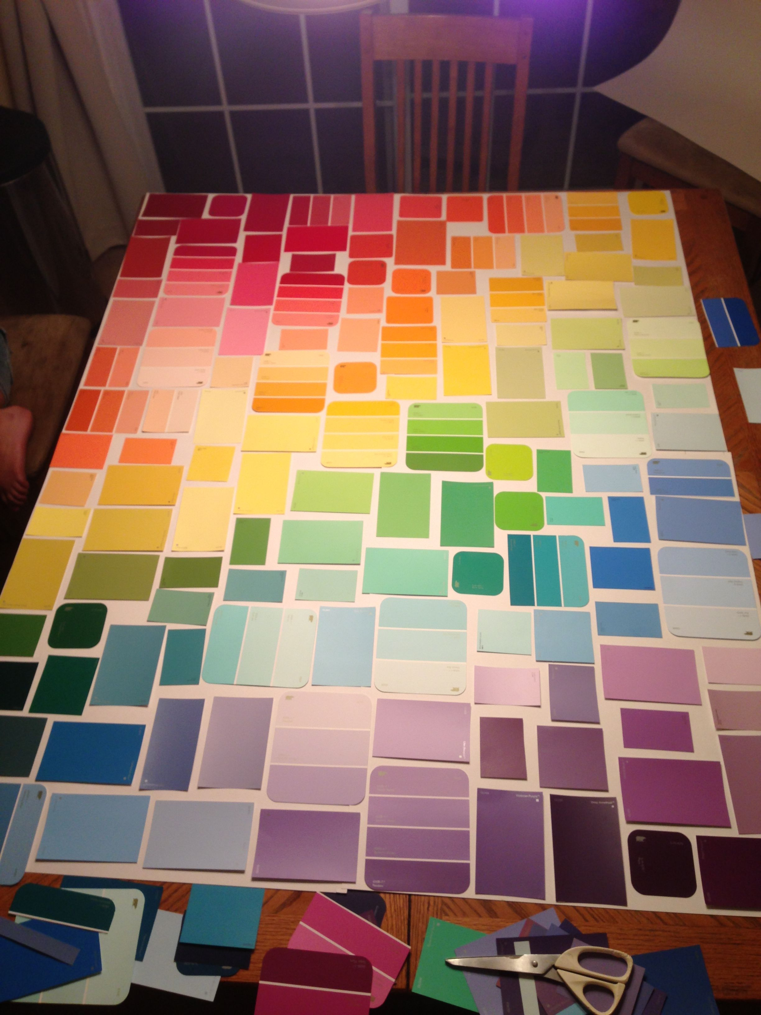 Diy paint sample wall art paint chip art pinterest for Painting samples on wall