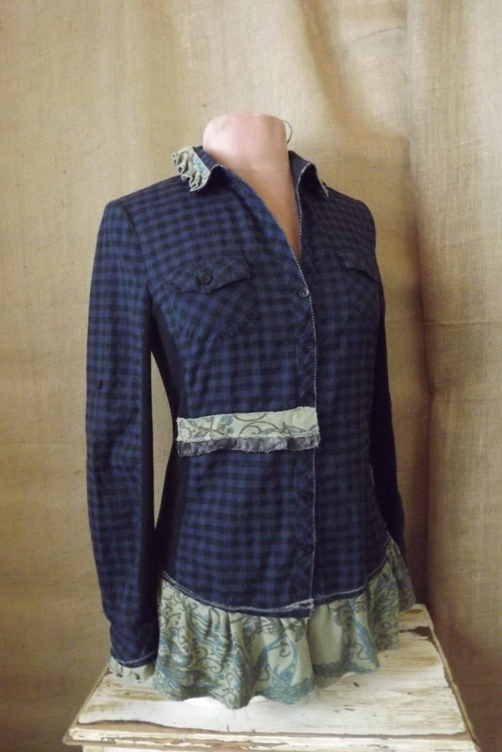 Women's Art to Wear French Tailored Upcycled Cotton Check and Ruffles Blouse Size S-M. $42.00, via Etsy.