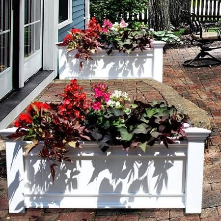 Decorative Vinyl Garden Patio WINDSOR Long Planter Flower Vegetable Box Pot Bed
