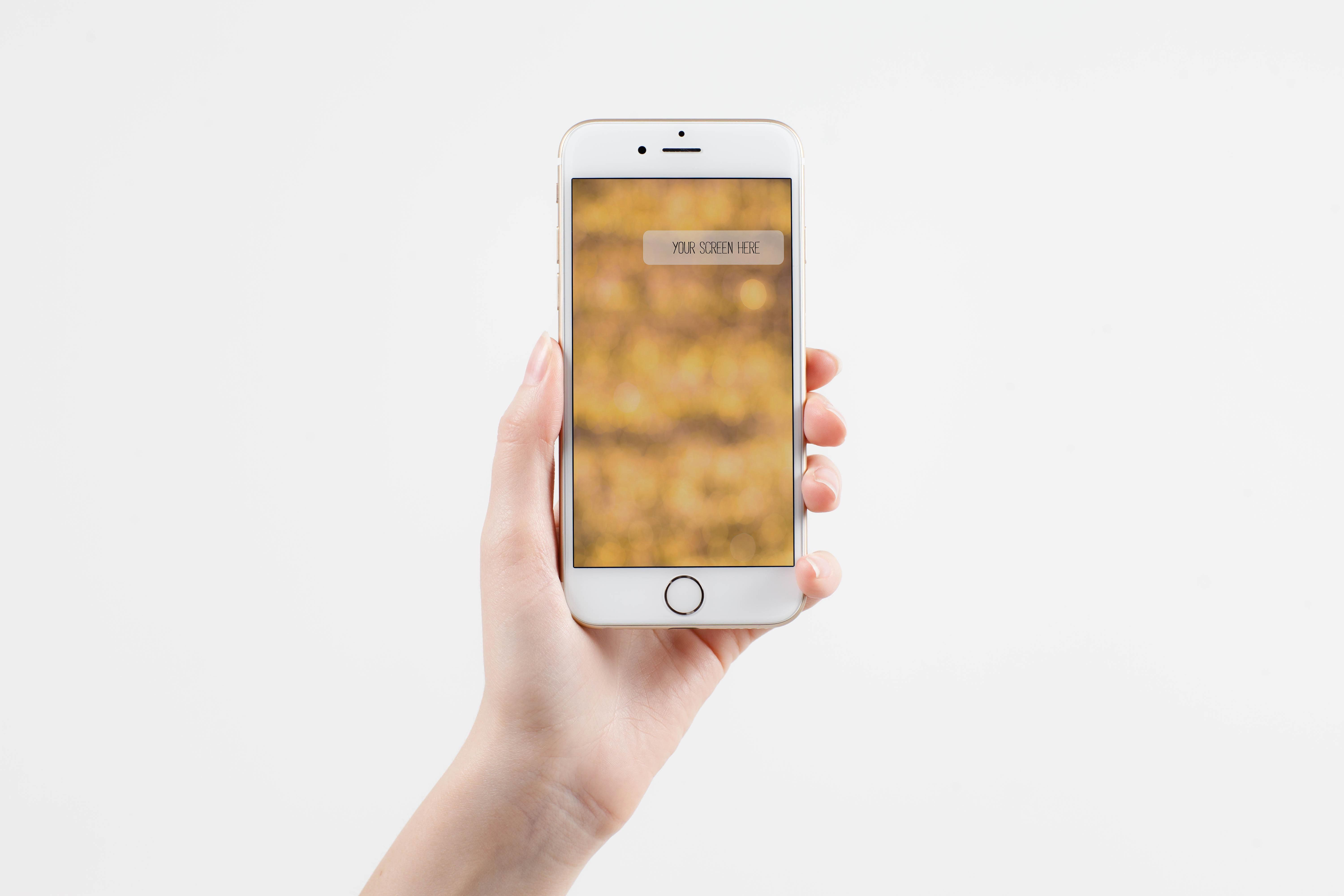 Download Female Hand Holding Iphone Iphone Iphone Mockup Graphic Design Typography