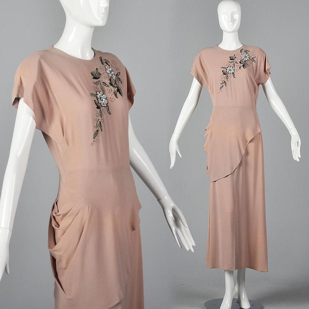 1940s Full Length Evening Dress Elegant Summer Formal Beaded Vintage 40s Gown Ebay Vintage Formal Dresses Evening Dresses Elegant Dresses