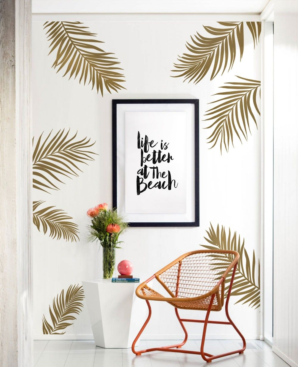 Turn your baby nursery or any room in your home into a tropical our palm leaves wall decal features a natural silhouette of breezy palm leaves amipublicfo Images