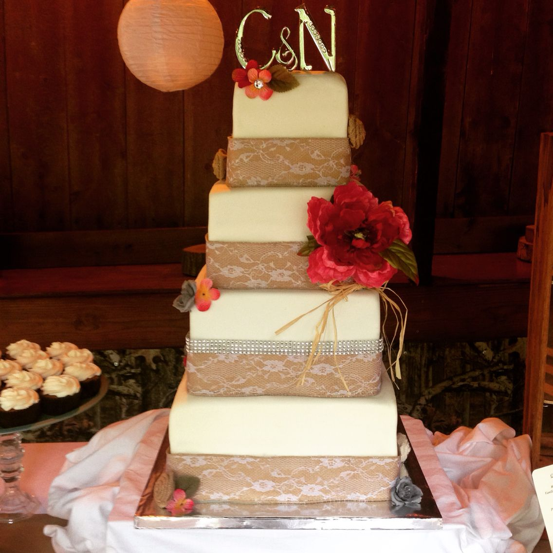 4 Tier Square Rustic Country Wedding Cake With Burlap Lace And Crystal Accents