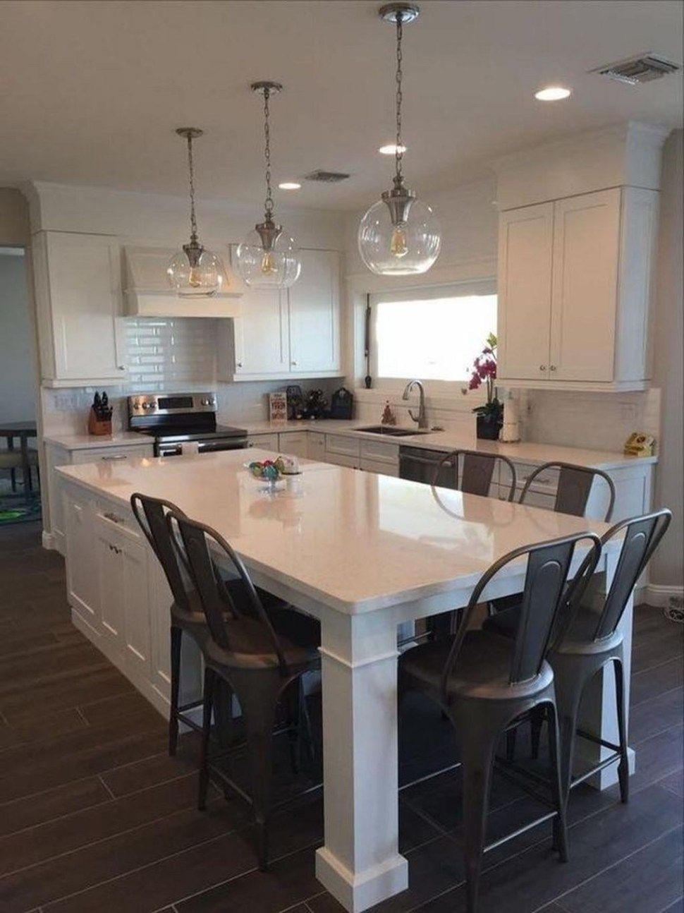 Stunning Kitchen Island Ideas With Seating26 Kitchen Layout Diy Kitchen Renovation Kitchen Island Table