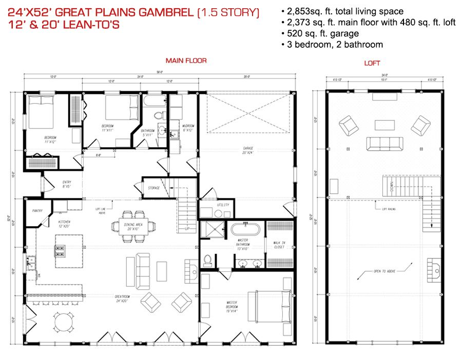 24x52 floor plan pre designed great plains gambrel barn for Gambrel barn house plans
