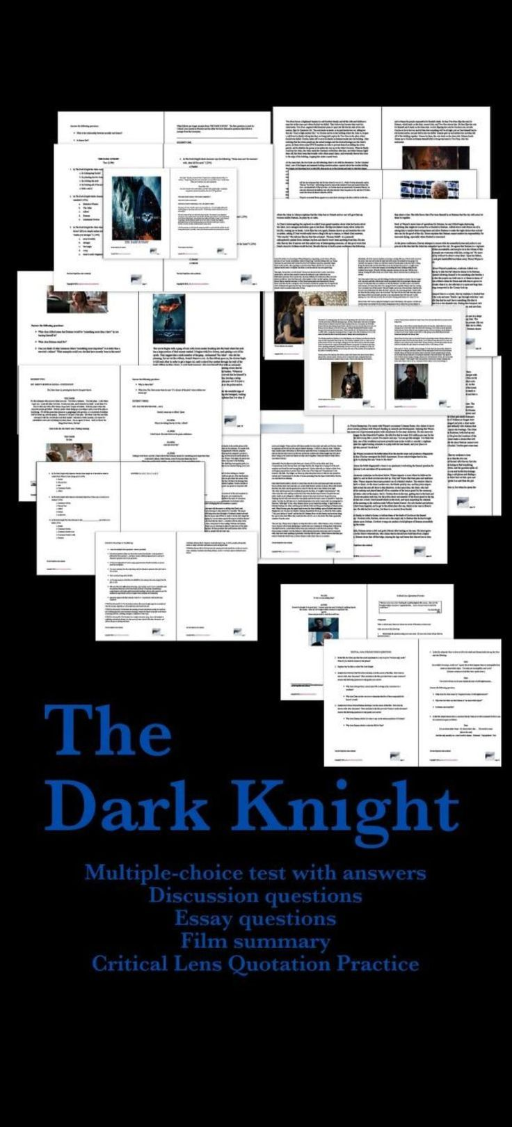 English Language Essays The Dark Knight  Pages Of Material A Test Essay Questions Discussion  Questions Film Summary And More  Business Management Essays also High School Essay Format Film  The Dark Knight Bundle Test Summary Script Excerpts  Christmas Essay In English