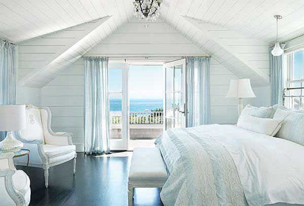Coastal Beach House Bedroom In Blues And White With A Dark