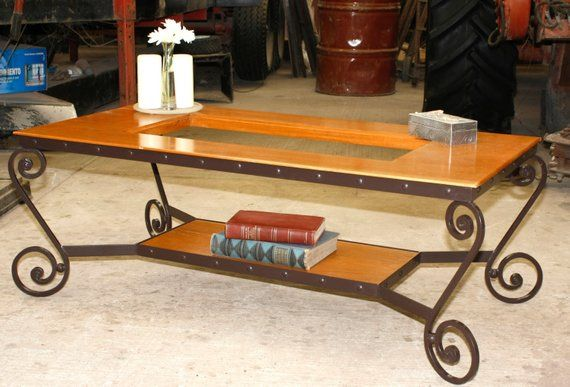 Wrought Iron Cofe Table Hand Forged With Fine Woods Ad Glass Can