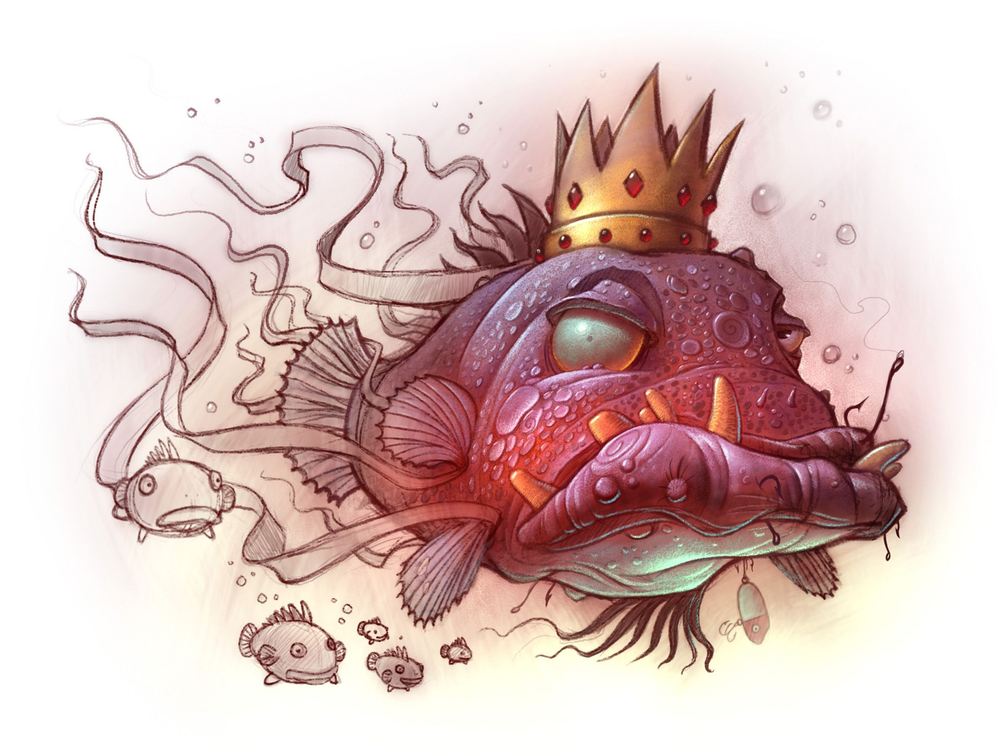www.willterry.com Fish King illustration for children swimming in ...