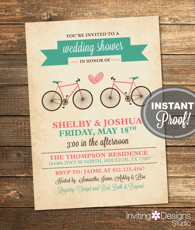 Bicycle wedding shower invitation bridal shower teal aqua coral bicycle wedding shower invitation bridal shower teal aqua coral retro filmwisefo Choice Image