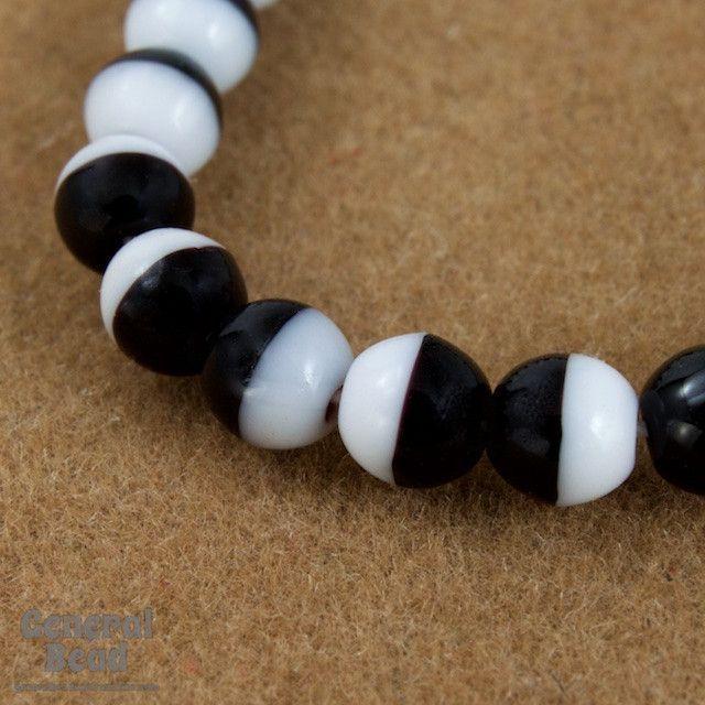 4mm Opaque Black/White Druk Bead