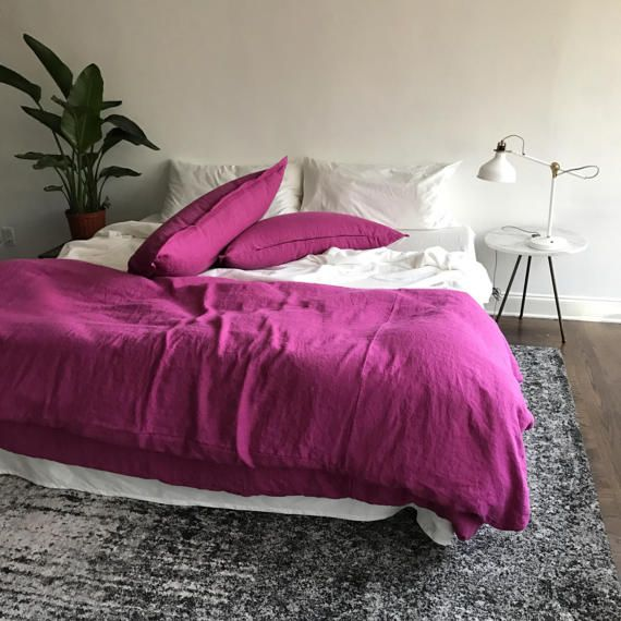 Magenta Linen Duvet Minimalist Bedding, Magenta Bedding Sets