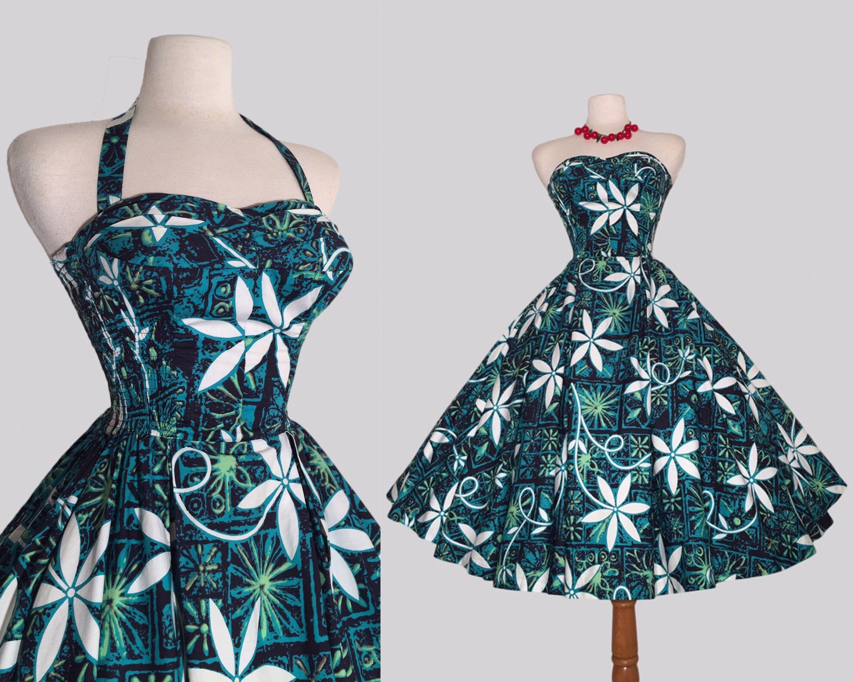 Alfred Shaheen 50s Hawaiian Tiki Dress /Tropical Print / Rockabilly ...