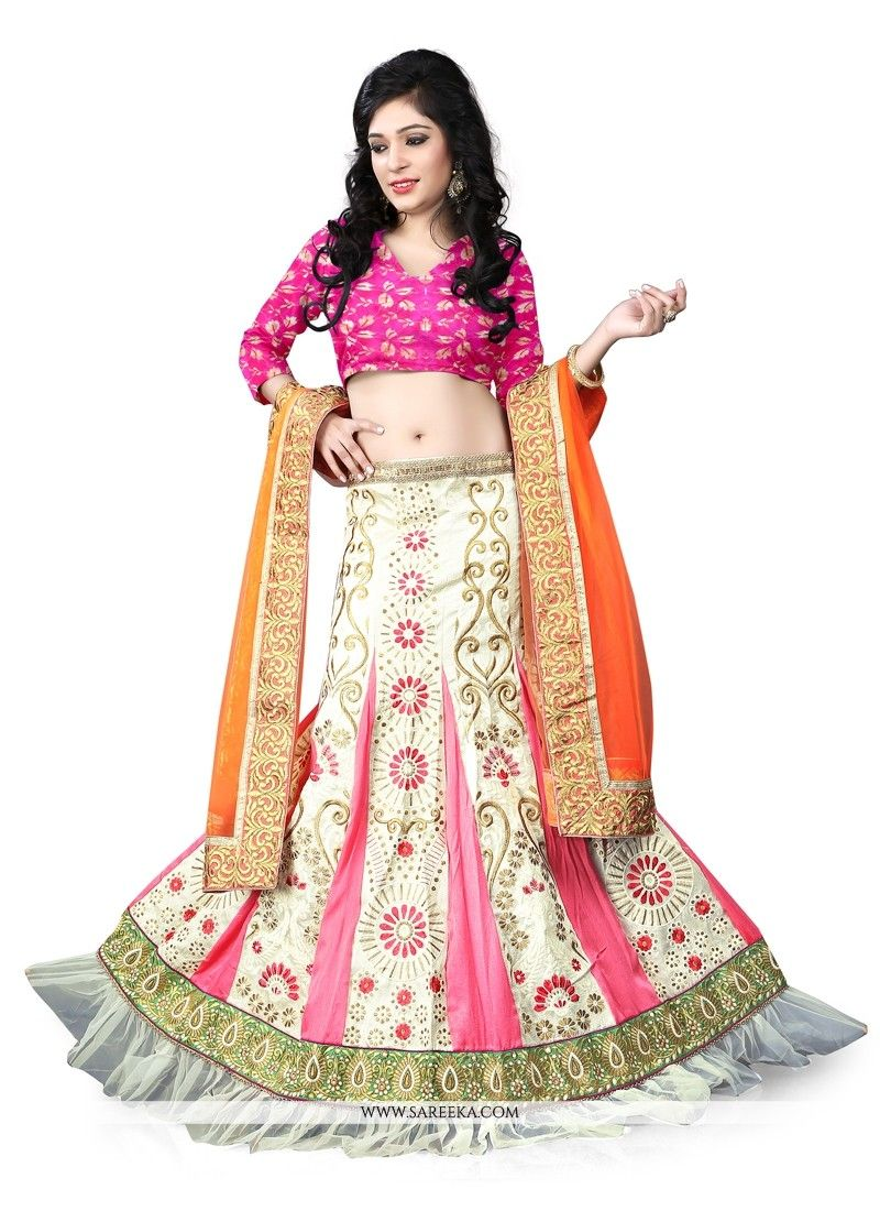 Everyone will admire you when you wear this clad to elegant affairs. Make the heads flip the moment you costume up in this stunning cream and pink brocade a line lehenga choli. The attractive embroide...