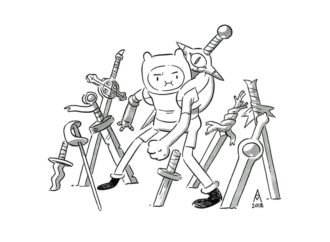 Finn E Suas Espadas Por Adam Muto 2018 Adventure Time Cartoon Adventure Time Drawings Adventure Time Characters