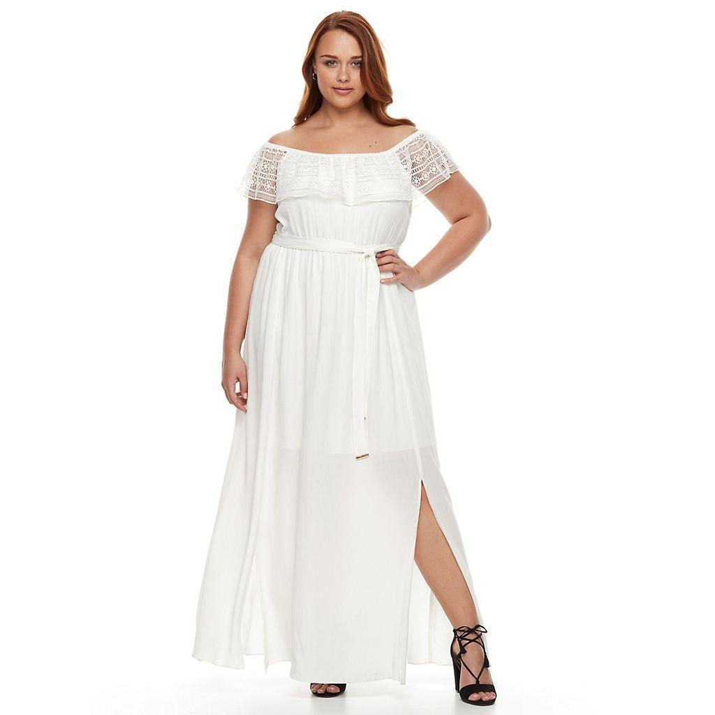 Plus Size Apt 9 Off Shoulder Ruffle Lace Maxi Dress Kohls Lace Maxi Dress Plus Size Maxi Dresses Lace Maxi [ 1024 x 1024 Pixel ]