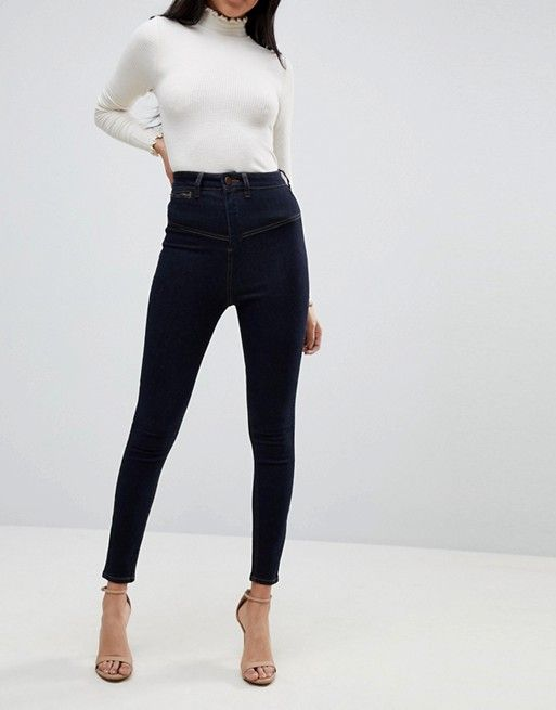 Ridley Haute Skinny Jeans Taille Avec Détail Corset Indigo - Asos Indigo pw75dtEEH