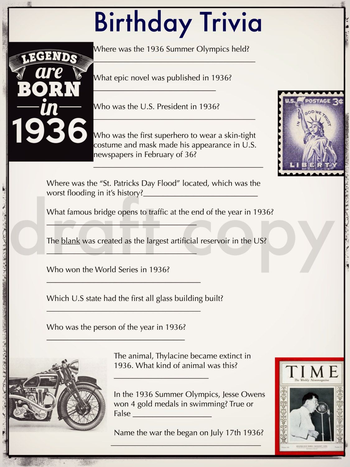 PERSONALISED 80th BIRTHDAY GIFT 70 Amazing Facts About Day You Were Born 1936