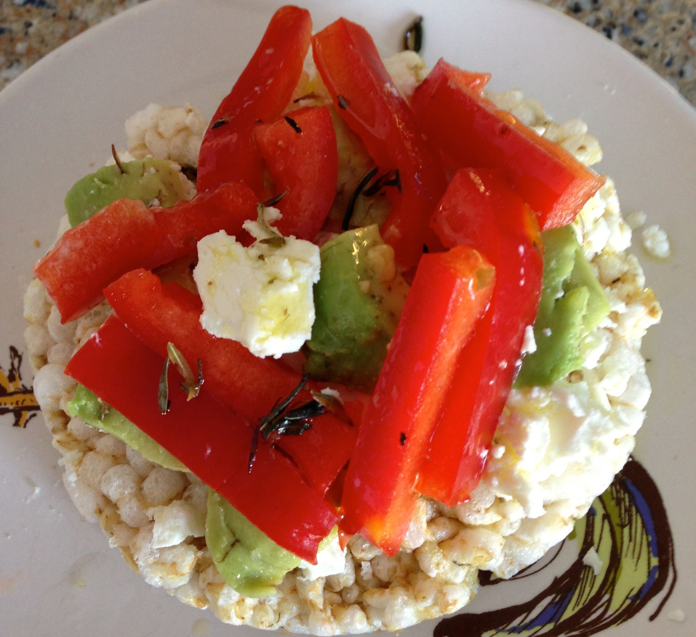 Perfect snack organic rice cake topped with organic