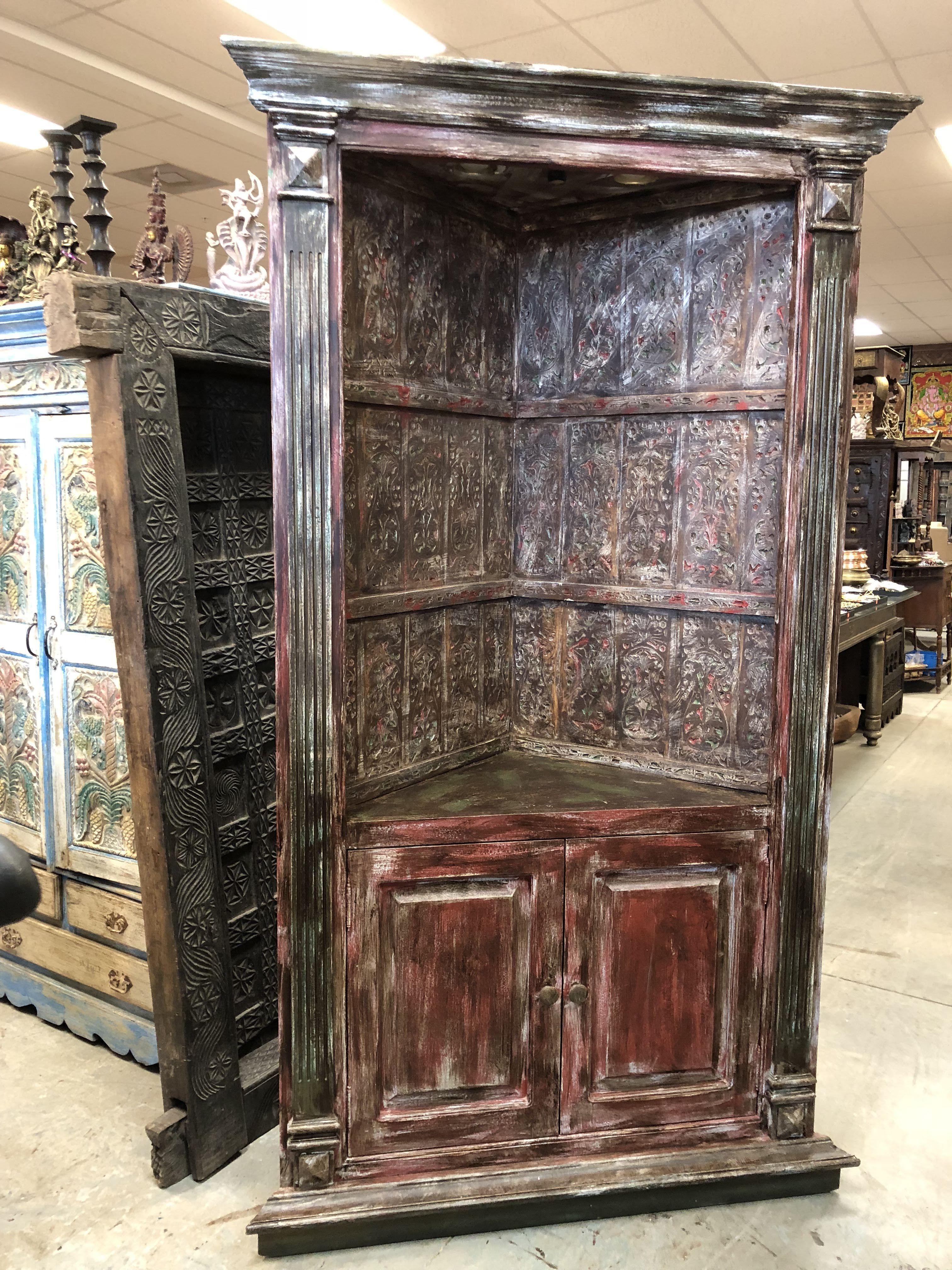 Antique india handcrafted huge corner cabinet sideboard vintage bookcase storage