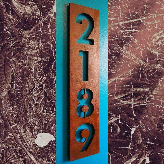 Custom Modern Floating House Numbers Vertical In Rusted