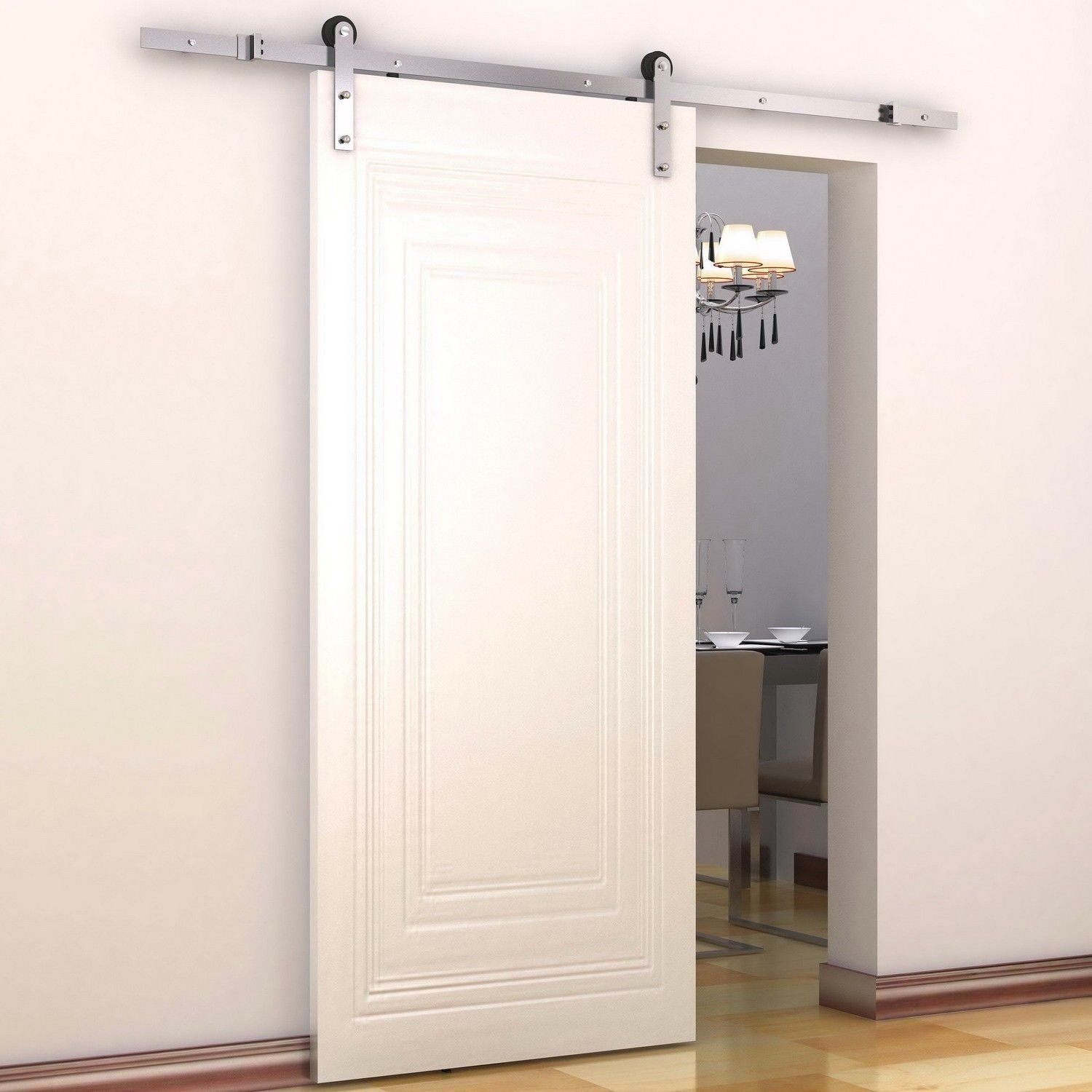 Homcom modern sliding barn door closet hardware track kit track homcom modern sliding barn door closet hardware track kit track system unit for single wooden door vtopaller Image collections