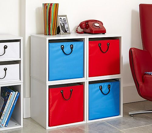 White Modular Storage Cubes with Blue and Red Baskets - Hallway Furniture & White Modular Storage Cubes with Blue and Red Baskets - Hallway ...