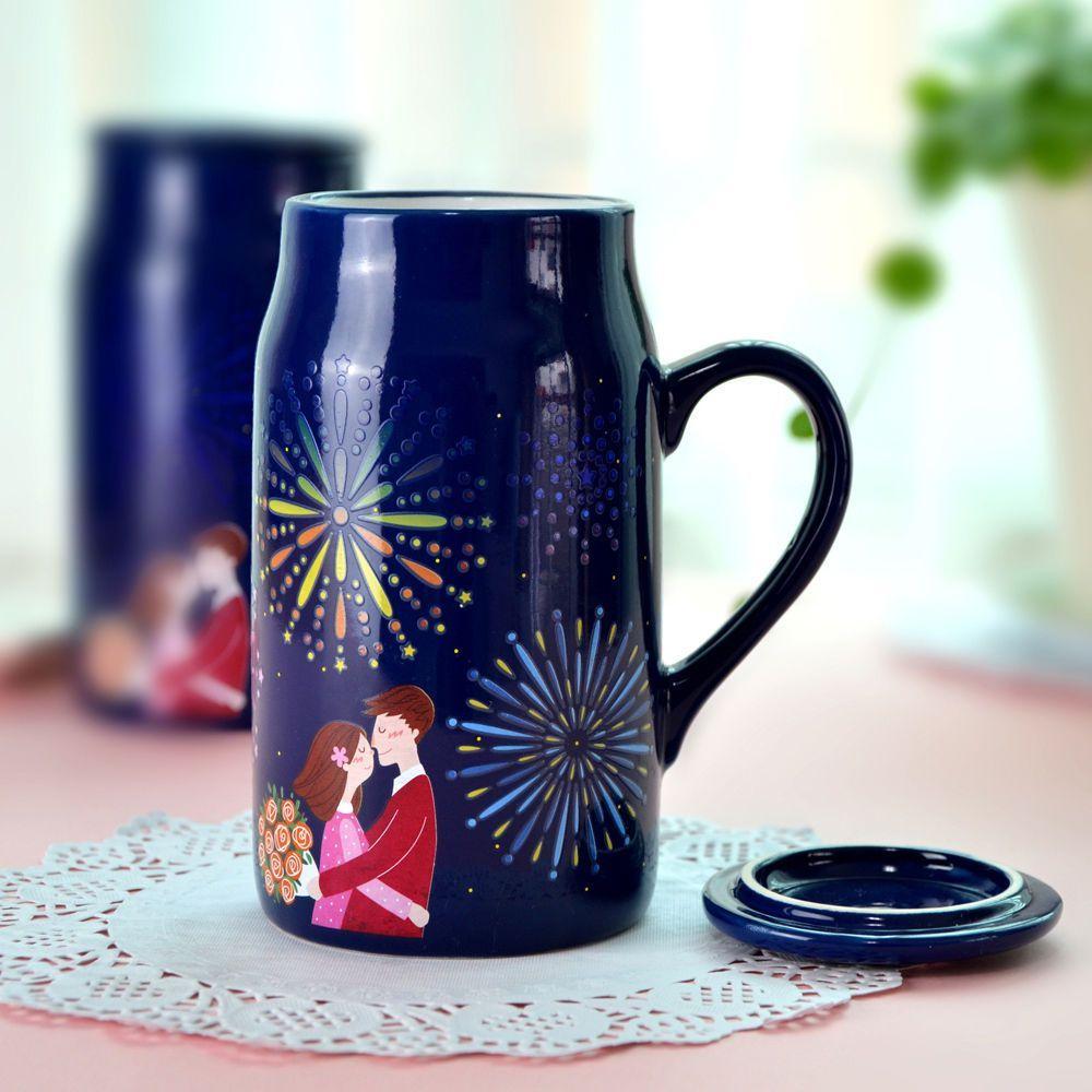 Romantic Night Heat Changing Mug Color Cup Coffee Milk Tea Drink Ceramic Mug Cup Mugs Drinking Tea Perfect Coffee Cup