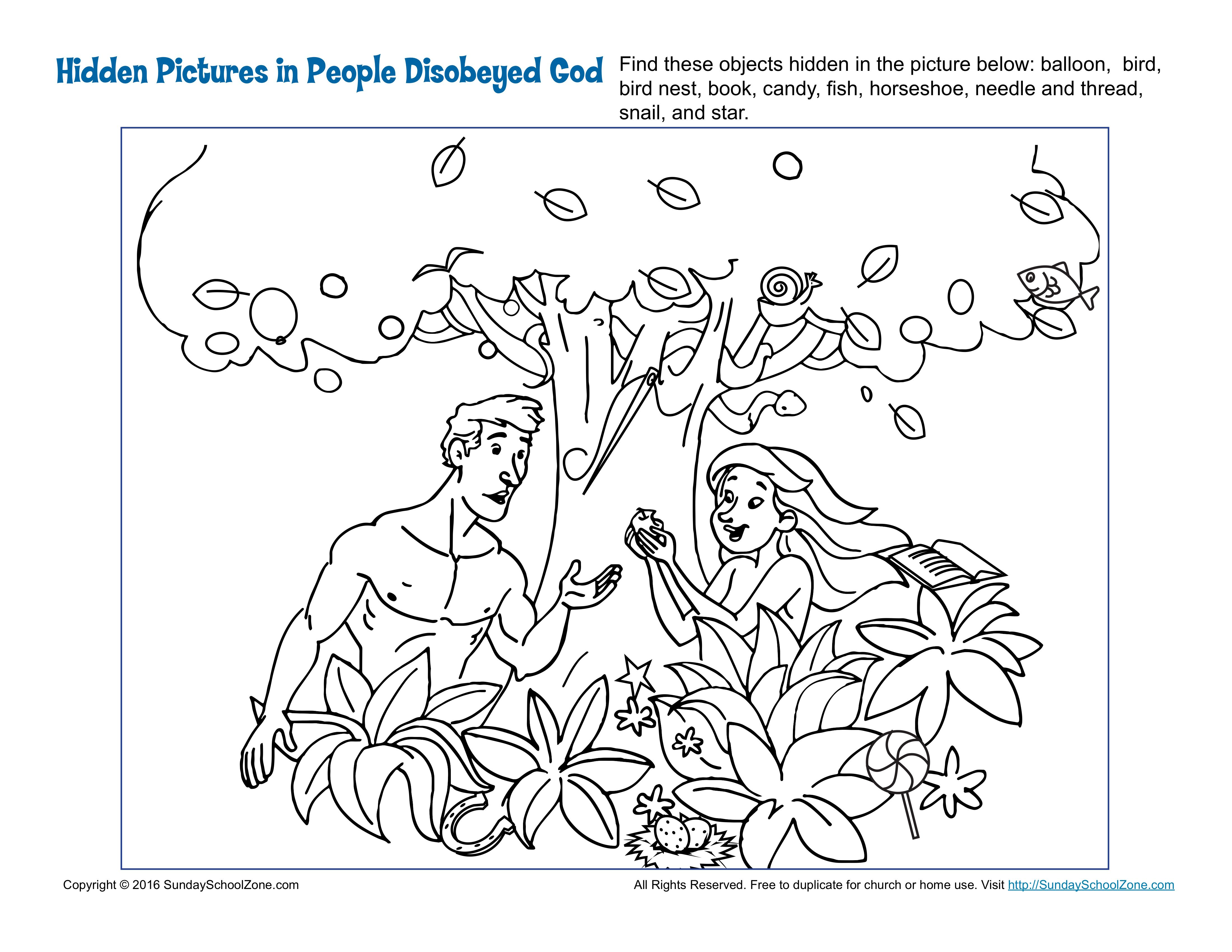 People Disobeyed God Hidden Pictures Activity Children S Bible Activities Sunday School Activities For Kids Childrens Bible Activities Adam And Eve Sunday School Coloring Pages