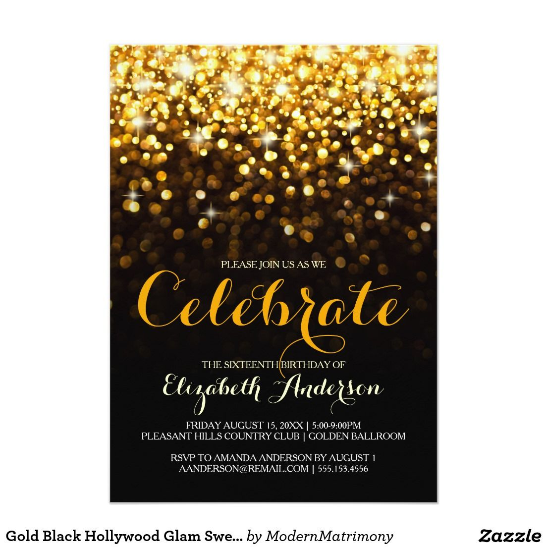 Gold Black Hollywood Glam Sweet Sixteen Invitation   SWEET SIXTEEN ...