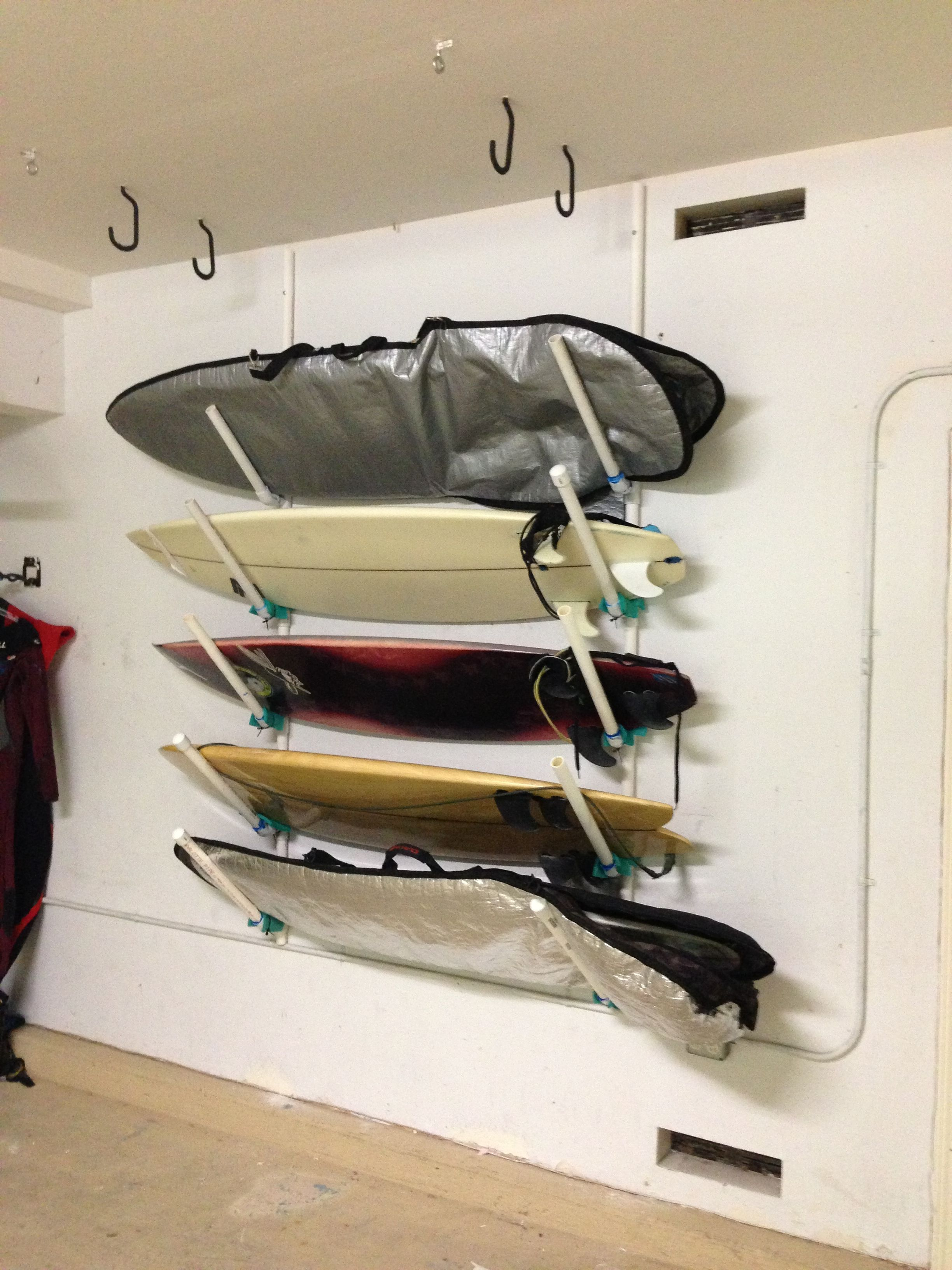 Surfboard Rack: PVC Pipe Surfboard Storage, Surfboard Rack, Bike Wall  Storage, Diy