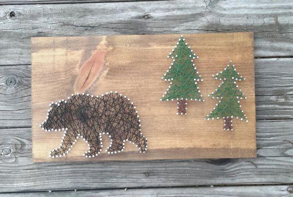 Black Bear and Trees  String Art Rustic Home by CarolinaStrings