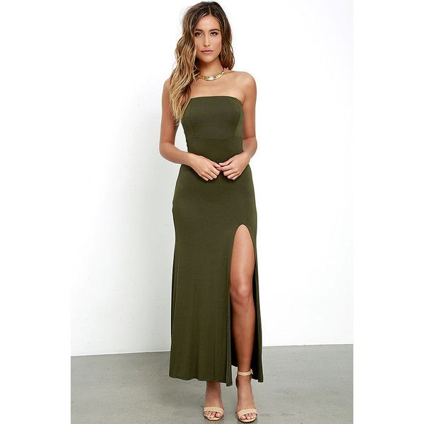 8f9f86a5c60e Enchanted Forest Olive Green Strapless Maxi Dress ($42) ❤ liked on Polyvore  featuring dresses, green, green dress, maxi dress, olive green dress, ...