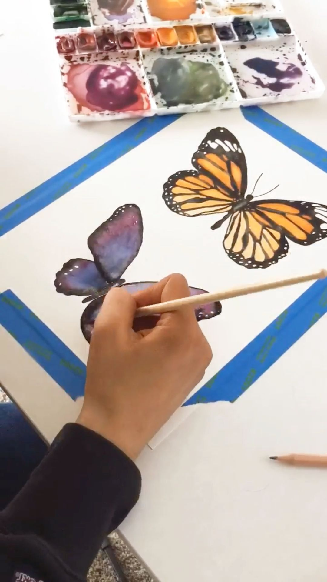 Free Watercolor Butterfly Painting Timelapse by Letter Lane Design Studio