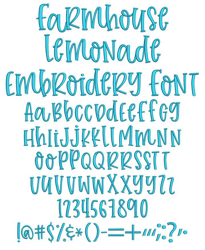 Farmhouse Lemonade Embroidery Font Cute fonts alphabet