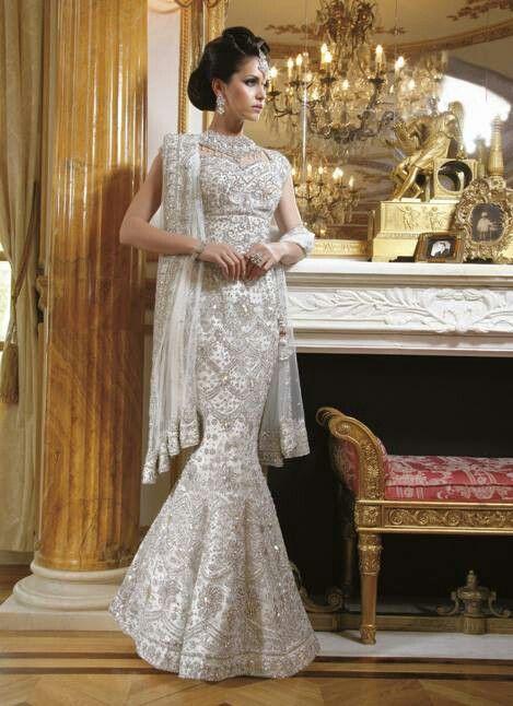 741e937c7b63 East meets West white wedding lengha | South Asian wedding ...